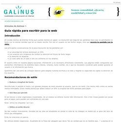 Guía rápida para escribir para la web. Artículos de Galinus