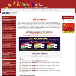 ESL Grammar: Tenses and Parts of Speech - Worksheets, Handouts, Games