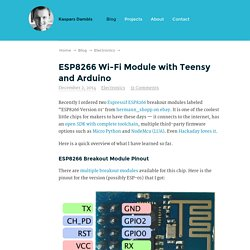 ESP8266 Wi-Fi Module with Teensy and Arduino – Kaspars Dambis