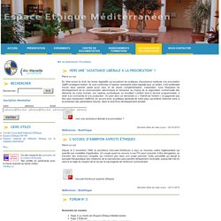 Des articles concernant l'AMP par l'Espace Ethique Méditerranéen