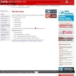 Test de nineau cours espagnol Instituto Cervantes de Paris