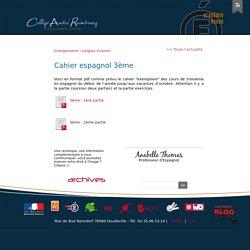 Cahier espagnol 3ème - Site du Collège André Raimbourg de Doudeville