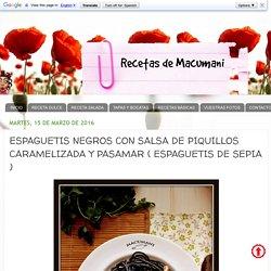 ESPAGUETIS NEGROS CON SALSA DE PIQUILLOS CARAMELIZADA Y PASAMAR ( ESPAGUETIS DE SEPIA )