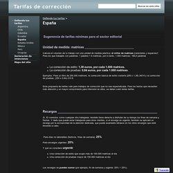 España - Tarifas de corrección