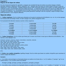 Español 3 Repaso de los tipos de verbos