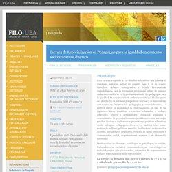 Carrera de Especialización en Pedagogías para la igualdad en contextos socioeducativos diversos