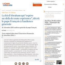 """La foi d'Abraham qui """"espère au-delà de toute espérance"""", décrit le pape François à l'audience générale"""