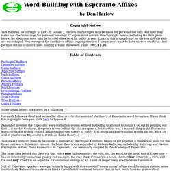 Esperanto Word-Building