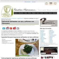 Espinacas salteadas con ajo y piñones en Thermomix - RecetasDeThermomix.es