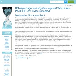 US espionage investigation against WikiLeaks: PATRIOT Act order unsealed
