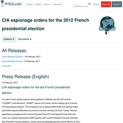 CIA espionage orders for the 2012 French presidential election