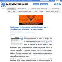 [Mediapart] Espionnage d'intérêts français par le renseignement allemand: la France se tait