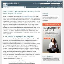 ESSAI SUR L'ORIGINE DES LANGUES