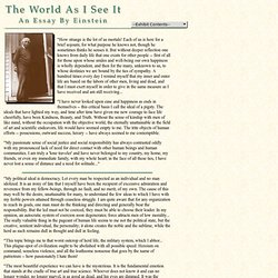 An Essay by Einstein -- The World As I See It - StumbleUpon