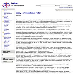 essay on Quantitative Meter