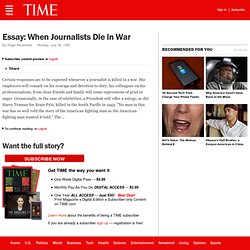 Essay: When Journalists Die in War