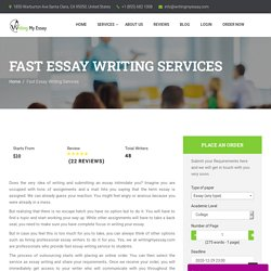 Fast Essay Writing Services - Get Your Essay in 1.5 Hours