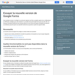 Essayer la nouvelle version de Google Forms - Aide Éditeurs Docs