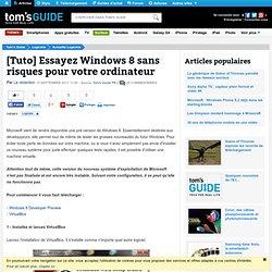 [Tuto] Essayez Windows 8 sans risques pour votre ordinateur
