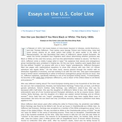 Essays on the U.S. Color Line » Blog Archive » How the Law Decided if You Were Black or White: The Early 1800s