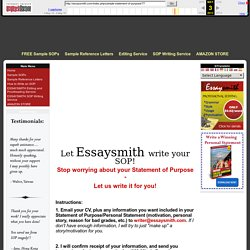 Essaysmith Personal Statement Writing Service