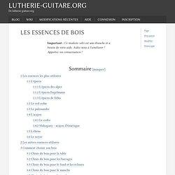 Les essences de bois - LutherieGuitare