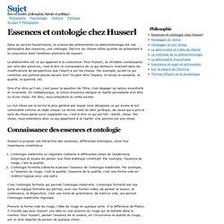 Essences et ontologie chez Husserl