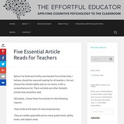 Five Essential Article Reads for Teachers
