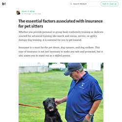The essential factors associated with insurance for pet sitters