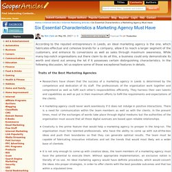 Six Essential Characteristics a Marketing Agency Must Have