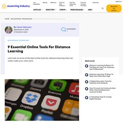 9 Essential Online Tools For Distance Learning - eLearning Industry
