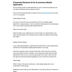 9 Essential Elements Of An E-commerce Mobile Application