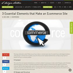 3 Essential Elements that Make an Ecommerce Site