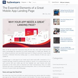 The Essential Elements of a Great Mobile App Landing Page