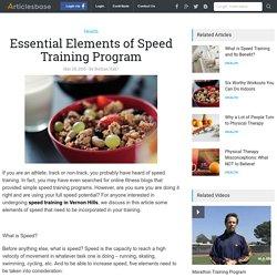 Essential Elements of Speed Training Program