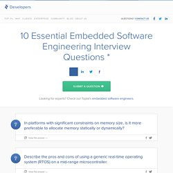 10 Essential Embedded Software Engineering Interview Questions and Answers