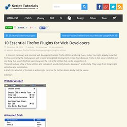 10 Essential Firefox Plugins for Web Developers