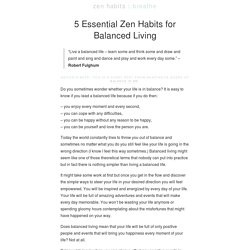 » 5 Essential Zen Habits for Balanced Living