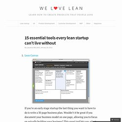 15 essential tools every lean startup can't live without - We Love Lean by Spook Studio