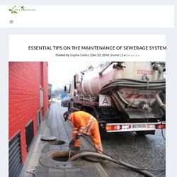 Essential Tips On The Maintenance Of Sewerage System