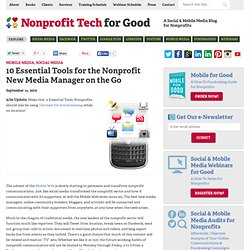 10 Essential Tools for the Nonprofit New Media Manager on the Go « Nonprofit Tech 2.0 :: A Social Media Guide for Nonprofits