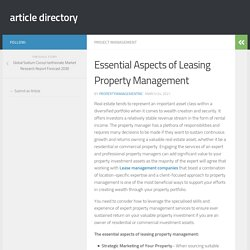 Essential Aspects of Leasing Property Management