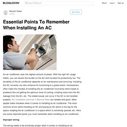 Essential Points To Remember When Installing An AC