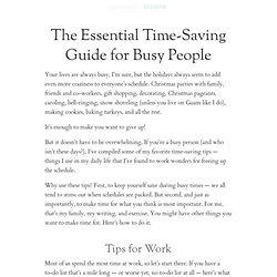 How to save time for busy people