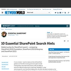 10 Essential SharePoint Search Hints