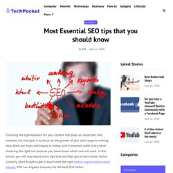 Most Essential SEO tips that you should know - TechPocket