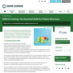 Ten Essential Skills for Patent Attorneys