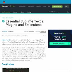 Essential Sublime Text 2 Plugins and Extensions