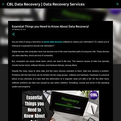 Essential Things you Need to Know About Data Recovery!