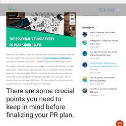 The Essential 5 Things Every PR Plan Should Have